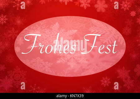 Merry Christmas written in german on red  background with white snowflakes - Stock Photo