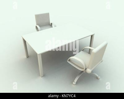 3D rendered office furniture. Surreal white, soft toned HDRI rendering.. - Stock Photo
