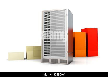 Server and bandwidth statistics. 3D rendered Illustration. Isolated on white. - Stock Photo