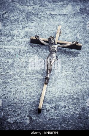 Crucifix, jesus christ on the cross. Symbol of christian religion, faith, worship and belief. Concept of death, suffering and holy figure.
