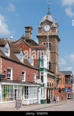 Hungerford Town Hall, High Street, Hungerford, Berkshire, England, United Kingdom - Stock Photo