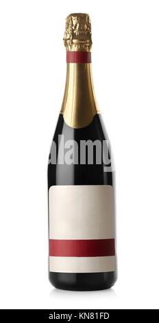 Champagne bottle isolated on a white background. - Stock Photo