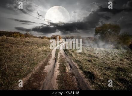 Country road under round moon at the night. Elements of this image furnished by NASA. - Stock Photo