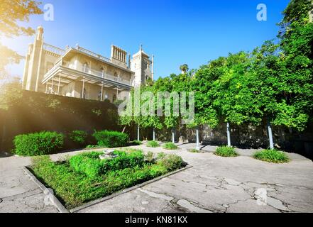 Green flowerbed in Vorontsov's residence at sunny day. - Stock Photo