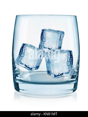 Glass and ice cubes isolated on white background. - Stock Photo