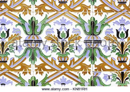 Portugal colorful tiles, detail of decoration. - Stock Photo