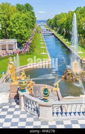 Sculptures and fountains of Grand Cascade, Peterhof, Saint Petersburg, Russia. - Stock Photo
