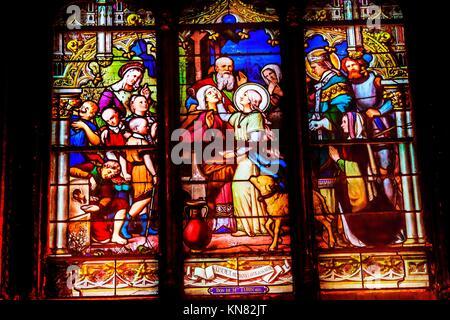 Saint Genevieve, Patron Saint of Paris, Stained Glass Saint Severin Church Paris France. Saint Genevieve lived in - Stock Photo