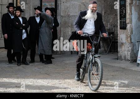 Jerusalem, Israel. 11th December, 2017. Ultra Orthodox Jewish men at the Jaffa Gate in Jerusalem's Old City. Credit: - Stock Photo