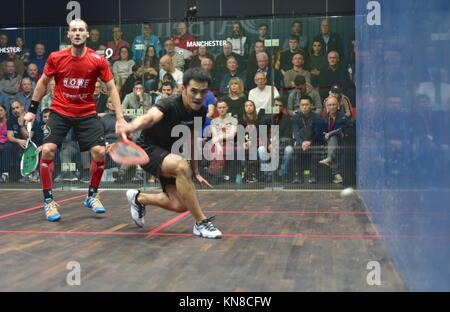 Manchester  UK  11th December 2017  Tsz Fung Yip (Hong Kong) loses to  Gregory Gaultier (France), the top seed in - Stock Photo