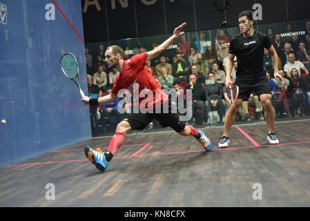 Manchester  UK  11th December 2017  Gregory Gaultier (France), the top seed beats Tsz Fung Yip (Hong Kong)  in three - Stock Photo