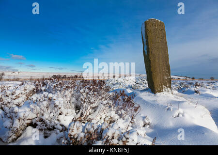 Beeley Moor, Derbyshire, U.K. 11th December 2017. A blanket of snow and freezing temperatures create a wintry scene - Stock Photo