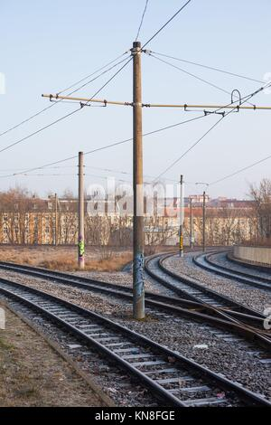 Streetcar rails in Frankfurt (Oder), Germany. - Stock Photo
