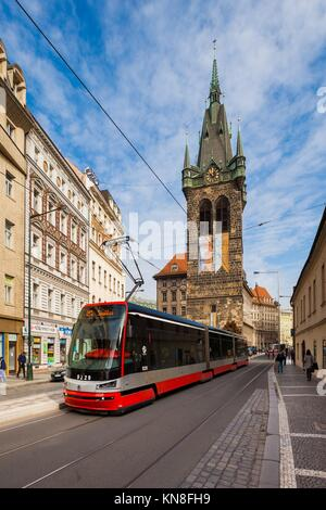 Jindrisska Tower in Prague with public transportation. - Stock Photo