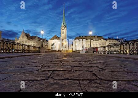 Munster Bridge, Fraumunster, Cobble Stone Pavement, Zurich, Switzerland - Stock Photo