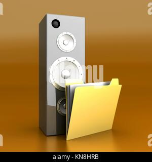 A audio speaker and a Folder. 3D rendered Illustration. - Stock Photo