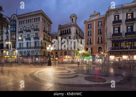 Las Ramblas, La Rambla, Miro Mosaic, Barcelona, Catalunia, Spain, - Stock Photo