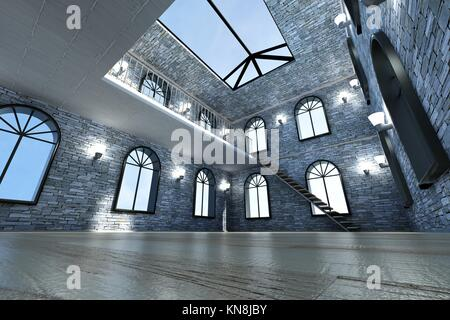 Architecture visualization of a Loft interior. 3D rendered Illustration. - Stock Photo