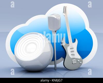Music and Cloud computing. 3D rendered illustration. - Stock Photo
