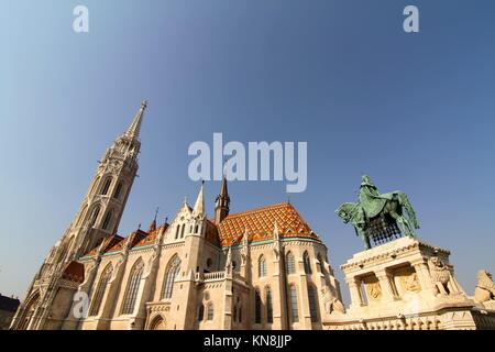 The Matthias Church in the Fisher Bastion in Budapest, Hungary, Europe. - Stock Photo