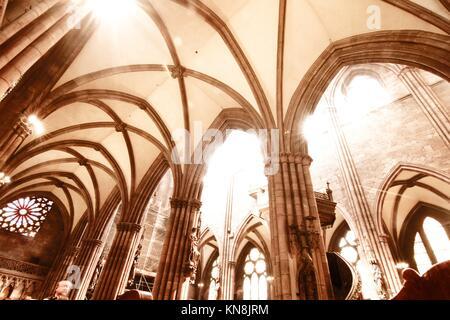 Interior of the Freiburg Muenster in Freiburg im Breisgau, Germany, Europe. - Stock Photo