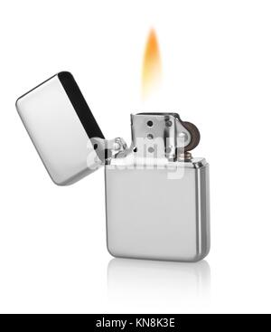 Metal lighter isolated on a white background. - Stock Photo