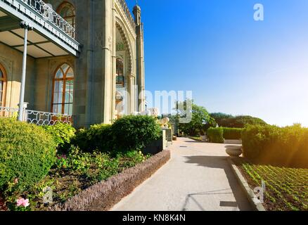 Beautiful park in Vorontsov's palace in spring. - Stock Photo