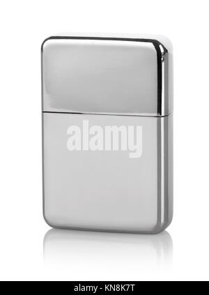 Silver lighter isolated on a white background. - Stock Photo