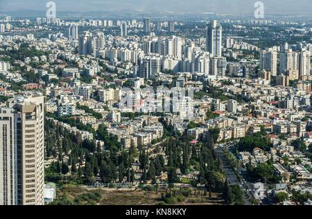 Aerial view of Tel Aviv city in Israel. - Stock Photo