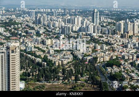Aerial view of Tel Aviv city in Israel. - Stock Photo