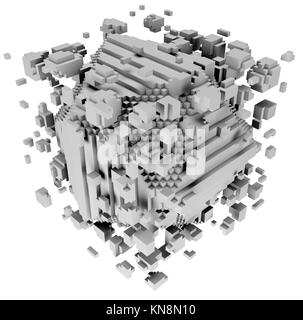 3D illustration of three-dimensional model consist of blocks. - Stock Photo