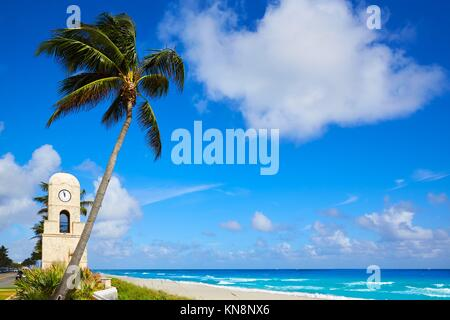 Palm Beach Worth Avenue clock tower Florida USA. - Stock Photo