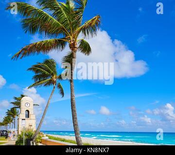 Palm Beach Worth Avenue clock tower Florida USA. - Stock Photo