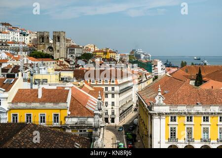 Panoramic of Lisbon downtown, Portugal. - Stock Photo