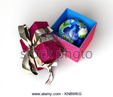 Gift package, with ribboned open cup, with planet earth inside, viewed from above. Conceptual image. - Stock Photo