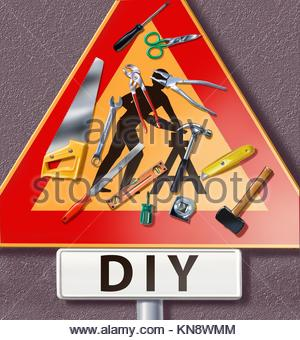 group of tools spread on a traffic sign with DIY man icon. - Stock Photo