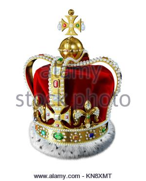 Royal gold crown, with many jewels, decorations and ermine fur, isolated on white background. Clipping path included. - Stock Photo