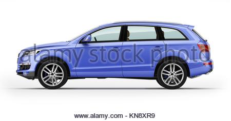 ... Blue Car, Luxury SUV. Isolated On White Background. With Clipping Path  Icluded.