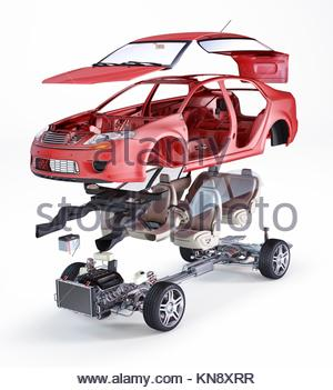 Generic sedan car, technical exploded illustration, on white background. - Stock Photo