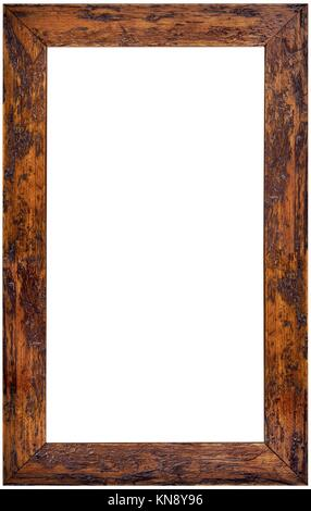 Vertical Wooden Picture Frame Isolated on White Background. - Stock Photo