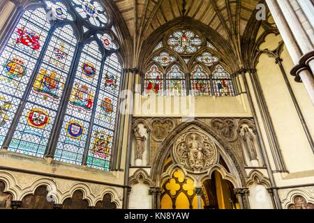 Interior Arches Stained Glass 13th Century Chapter House Westminster Abbey Church London England. Westminister Abbey - Stock Photo