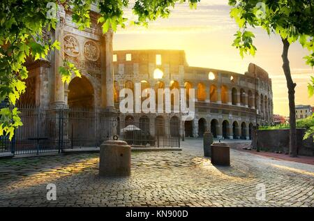 Road to Colosseum in calm sunny morning. - Stock Photo