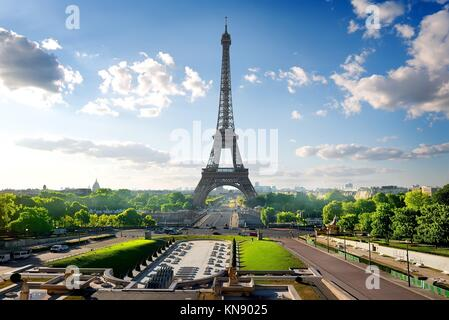 Park with fountains near Eiffel Tower in Paris, France. - Stock Photo