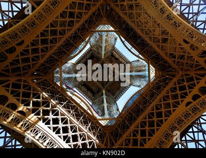 View on Eiffel Tower in Paris from below, France. - Stock Photo