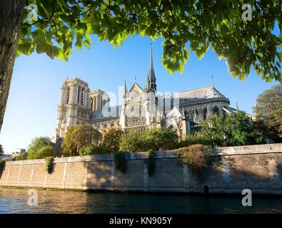 Majestic cathedral Notre Dame de Paris in France. - Stock Photo