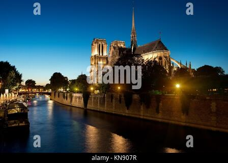 Notre Dame de Paris in the evening, France. - Stock Photo