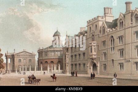 Broad Street, Oxford, Victorian illustration - Stock Photo