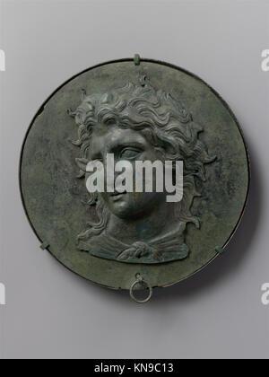 Bronze box mirror MET DP116953 251828 Greek, Bronze box mirror, late 4th century B.C., Bronze, diameter 6 3/4 in. - Stock Photo