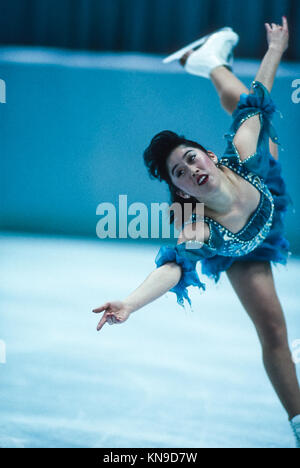 Kristi Yamaguchi (USA) competing at the 1992 Olympic Winter Games. - Stock Photo
