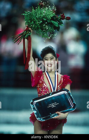 Kristi Yamaguchi (USA) gold medalist competing at the 1992 US National Figure Skating Championships - Stock Photo